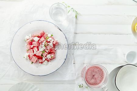 fresh summer watermelon salad with feta