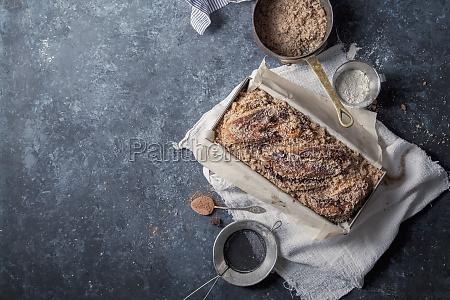 chocolate babka with cinnamon