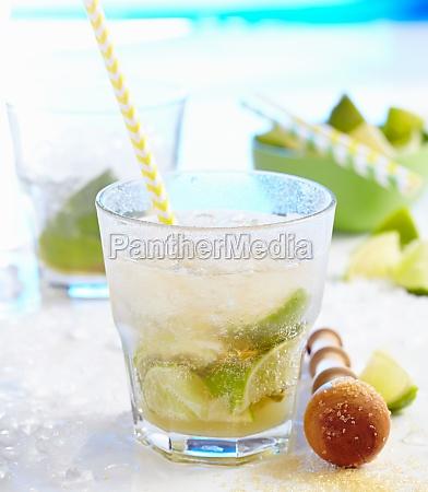 non alcoholic caipirinha made with ginger