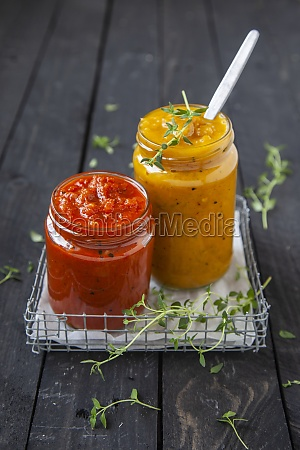 red and yellow pepper cream with