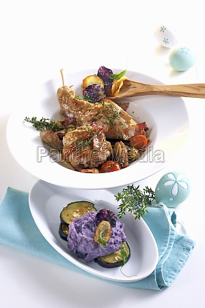 braised rabbit with balsamic shallots and