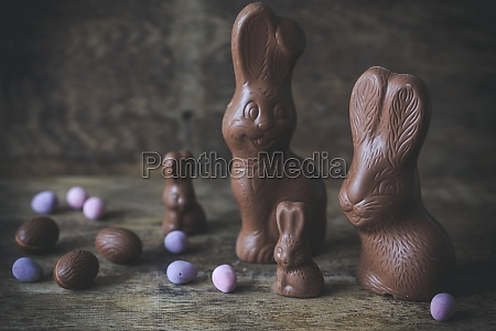 chocolate bunnies and sugared easter eggs