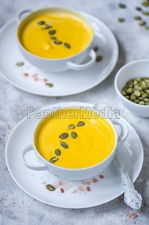 pumpkin cream soup with pumpkin seeds