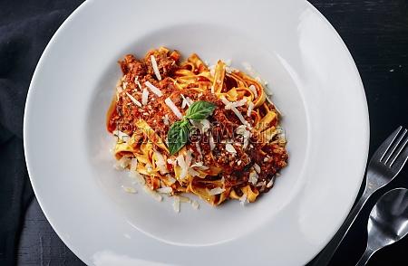 tasty italian pasta with meat sauce