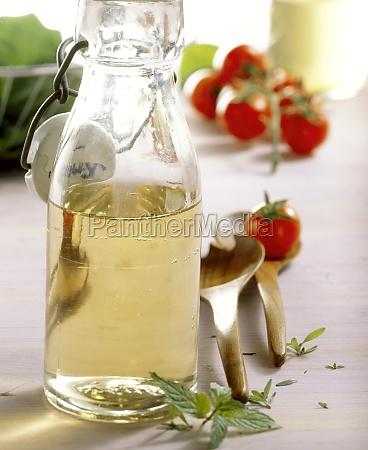 homemade elderflower vinegar in a bottle