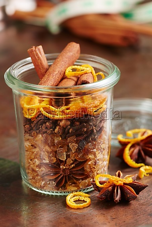 homemade mulled wine spice mix in