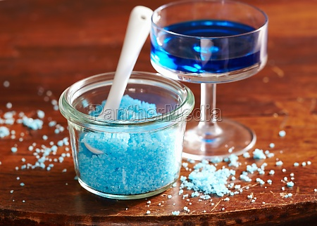 homemade blue sugar flavored with blue