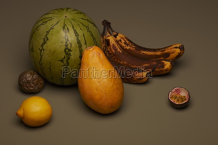 fruit still life with brown bananas