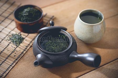 an arrangement with green tea