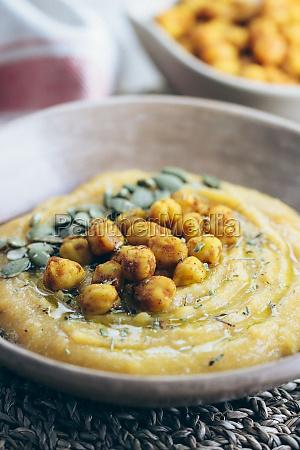 butternut squash cream with spicy chickpeas