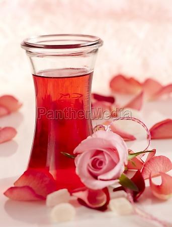 homemade rose liqueur with fresh rose