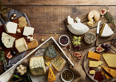 selection of cheeses with fruit crackers