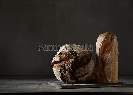 crusty bread and a baguette in