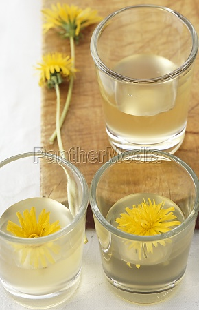 homemade dandelion schnapps with fresh flowers