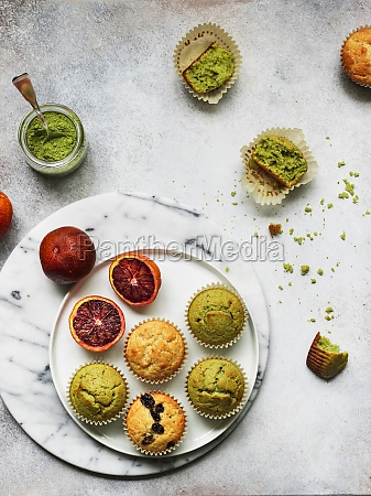muffins with matcha blood orange and