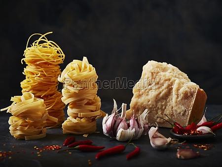 pasta garlic chilli and parmasan cheese