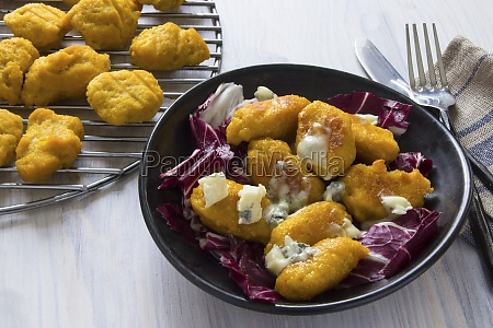 pumpkin gnocchi with gorgonzola on a