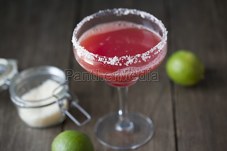 watermelon margarita in a glass with