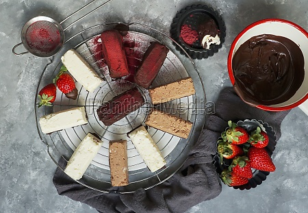 various small chocolates and cheesecakes with