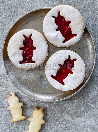 jam cookies with easter bunny motifs