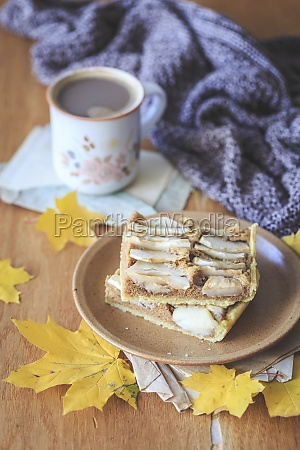 apple and walnut pie and coffee
