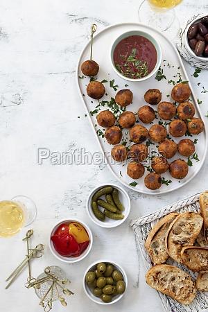tapas with vegan meatballs