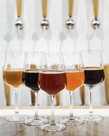 different types of beer displayed in
