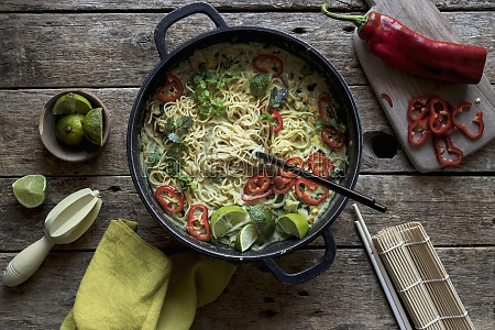 green curry pasta with limes herbs