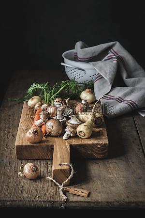 set of tasty fresh vegetables prepared