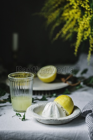 squeezer and half of lemon at