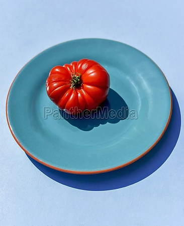 red tomato on a blue plate