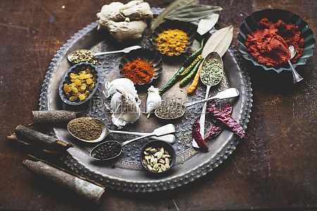 various spices and sultanas on a