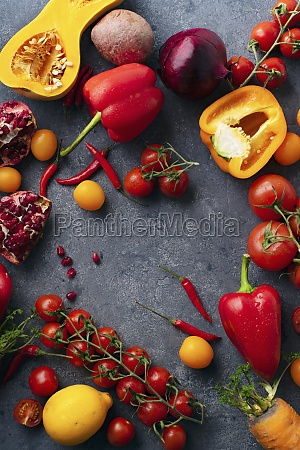 flatlay with colorful vegetables sliced butternut