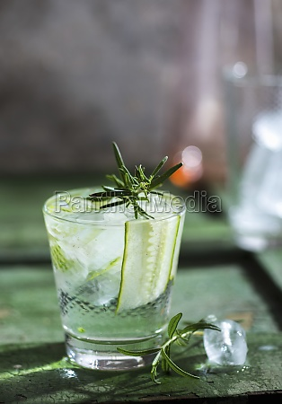 a gin tonic with cucumber