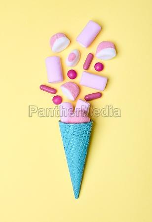 bright blue ice cream waffle cone
