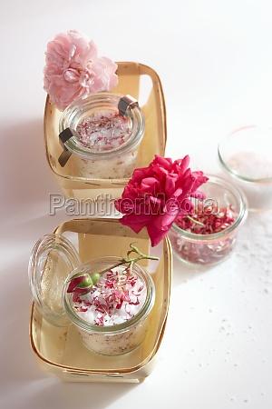 coarse sea salt with dried rose