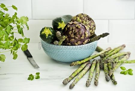 coriander artichokes asparagus and zucchini