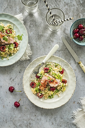 couscous salad with fresh sweet cherries