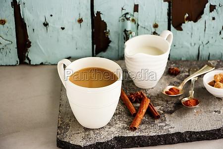 traditional indian masala chai tea in