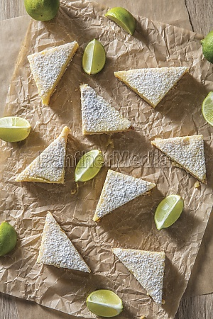 key lime bars triangles with lime