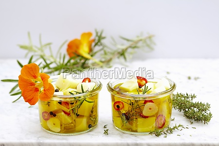 pickled manchego with herbs lemon jalapenos