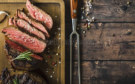 sliced grilled marbled meat steak filet