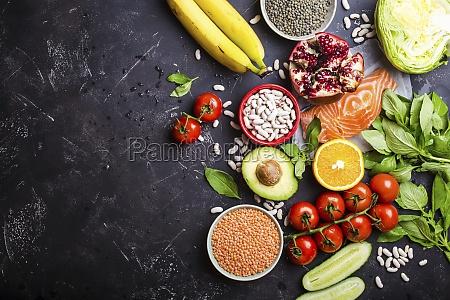 top view of healthy diet food