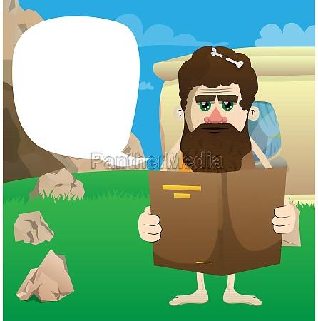 prehistoric man reading a book