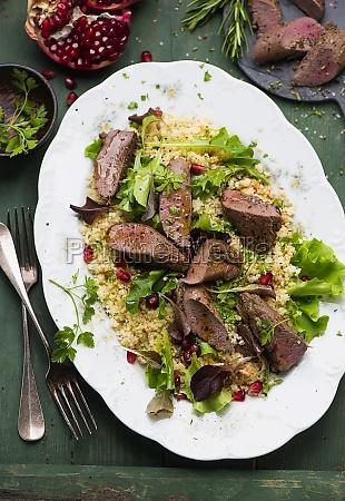 lamb fillet with pomegranate couscous