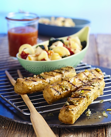 marinated grilled tofu sausages with a