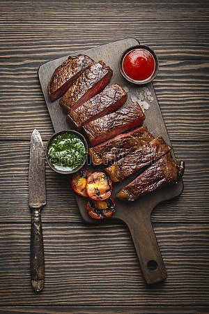 grilled or fried and sliced marbled
