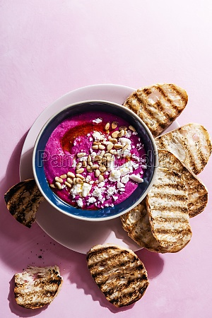 whipped feta and beetroot dip with