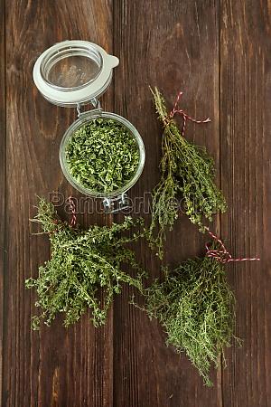 dried aromatic herbs thyme lemon