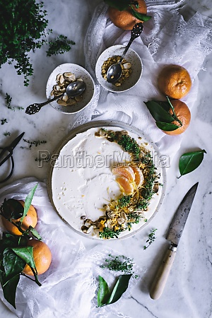 tasty appetizing decorated with mandarin green